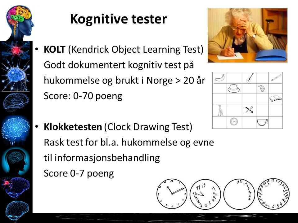 KOLT (Kendrick Object Learning Test) Godt dokumentert kognitiv test på hukommelse og brukt i Norge > 20 år Score: 0-70 poeng Klokketesten (Clock Drawing Test) Rask test for bl.a.