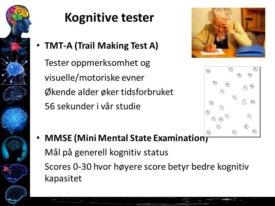 TMT-A (Trail Making Test A) Tester oppmerksomhet og visuelle/motoriske evner Økende alder øker tidsforbruket 56 sekunder i vår studie MMSE (Mini Mental State Examination) Mål på generell kognitiv status Scores 0-30 hvor høyere score betyr bedre kognitiv kapasitet Kognitive tester