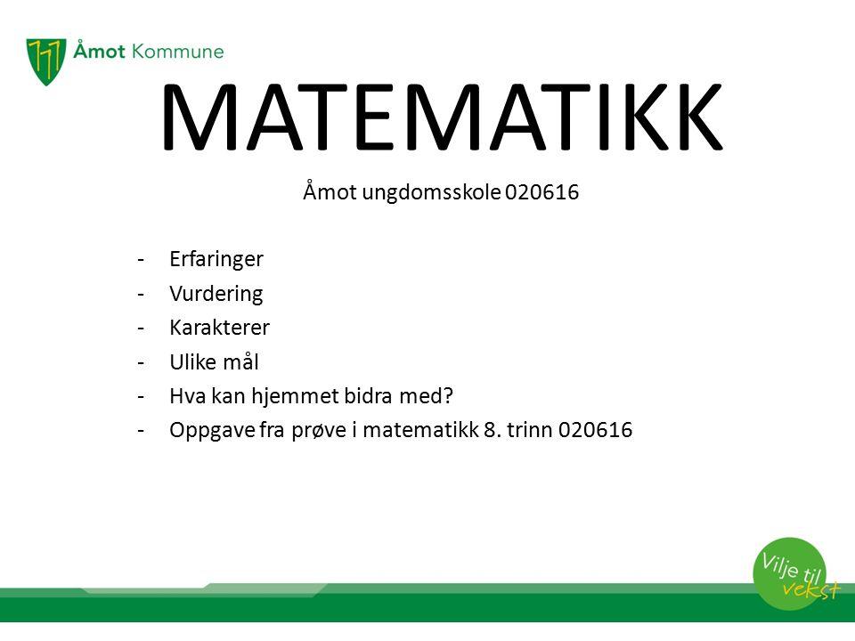 MATEMATIKK Åmot ungdomsskole 020616 -Erfaringer -Vurdering -Karakterer -Ulike mål -Hva kan hjemmet bidra med.