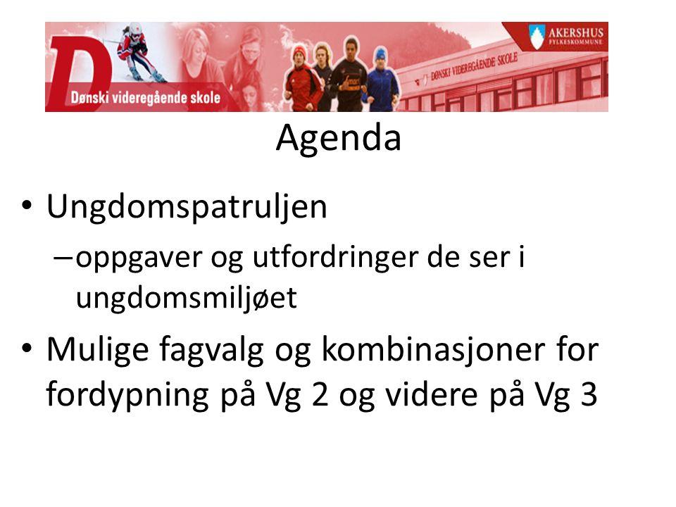 Agenda Ungdomspatruljen – oppgaver og utfordringer de ser i ungdomsmiljøet Mulige fagvalg og kombinasjoner for fordypning på Vg 2 og videre på Vg 3