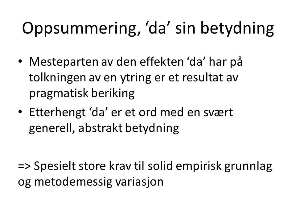 Oppsummering, 'da' sin betydning Mesteparten av den effekten 'da' har på tolkningen av en ytring er et resultat av pragmatisk beriking Etterhengt 'da'