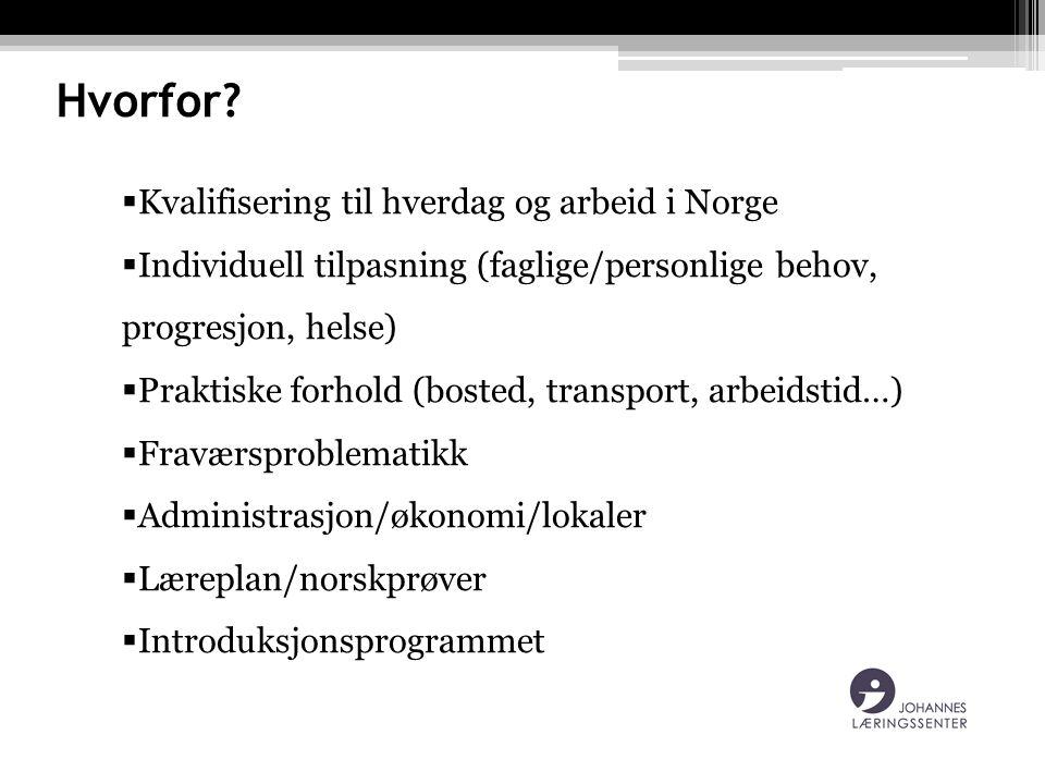 Hvorfor?  Kvalifisering til hverdag og arbeid i Norge  Individuell tilpasning (faglige/personlige behov, progresjon, helse)  Praktiske forhold (bos