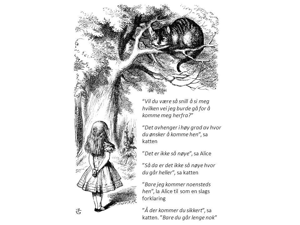 Vil du være så snill å si meg hvilken vei jeg burde gå for å komme meg herfra Det avhenger i høy grad av hvor du ønsker å komme hen , sa katten Det er ikke så nøye , sa Alice Så da er det ikke så nøye hvor du går heller , sa katten Bare jeg kommer noensteds hen , la Alice til som en slags forklaring Å der kommer du sikkert , sa katten.