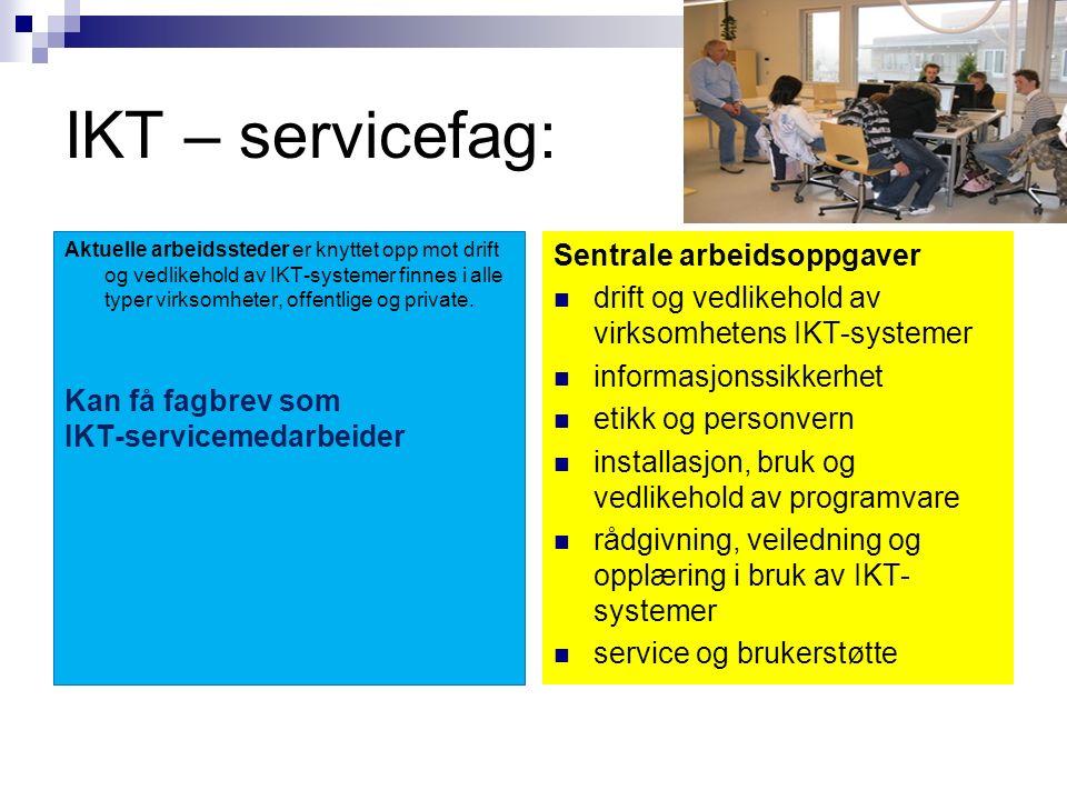 Noen aktuelle høyskoleutdanninger (må ha generell studiekompetanse, de fleste utdanningene tar ca 3- 5år, enkelte utdanninger krever i tillegg 2MX) Generell studiekompetanse Administrativ databehandling Informasjons- systemer og IT-ledelse Informatikk, distribuerte systemer og nettverk Krever 2MX/2MY/3MZ i tillegg til generell studiekompetanse IT og informasjons- Systemer Krever 2MX/2MY/3MZ i tillegg til generell studiekompetanse