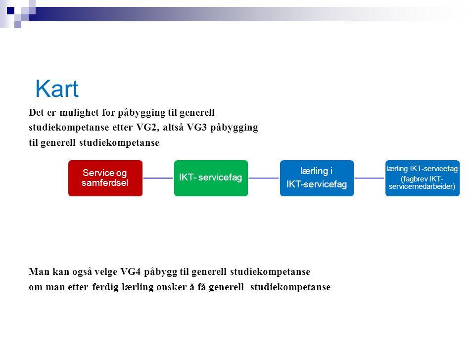 Kart alle retningene har mulighet for påbygging til generell studiekompetanse etter VG2, altså VG3 påbygging til generell studiekompetanse Kart Kart Alle retningene har mulighet for påbygging til generell studiekompetanse etter VG2, altså VG3 påbygging til generell studiekompetanse Det er mulighet for påbygging til generell studiekompetanse etter VG2, altså VG3 påbygging til generell studiekompetanse Man kan også velge VG4 påbygg til generell studiekompetanse om man etter ferdig lærling ønsker å få generell studiekompetanse Service og samferdsel IKT- servicefag lærling i IKT-servicefag lærling IKT-servicefag (fagbrev IKT- servicemedarbeider)