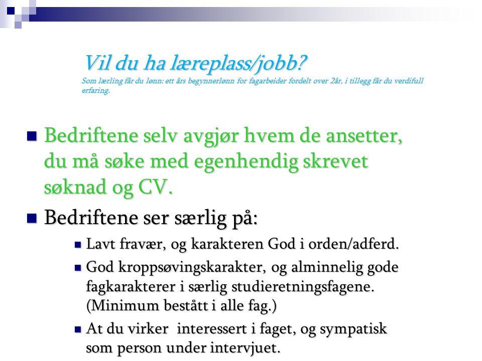 Fag- og timefordeling på Vg2: Fellesfag: Engelsk (2 timer) Norsk (2 timer) Kroppsøving (2 timer) Samfunnsfag (3 timer) Programfag: Drift og vedlikehol