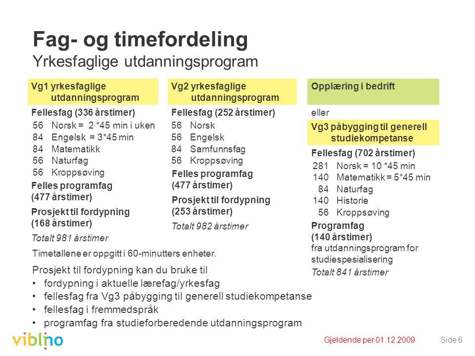 Gjeldende per 01.12.2009Side 6 Fag- og timefordeling Yrkesfaglige utdanningsprogram Timetallene er oppgitt i 60-minutters enheter. Prosjekt til fordyp
