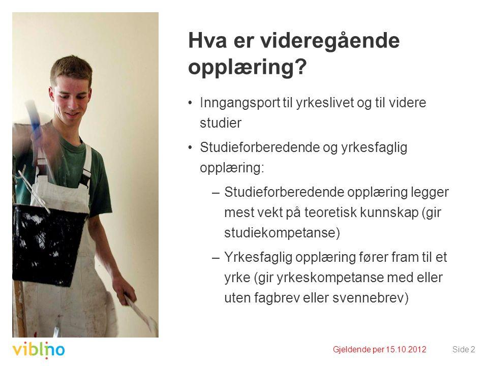 Gjeldende per 15.10.2012Side 2 Hva er videregående opplæring? Inngangsport til yrkeslivet og til videre studier Studieforberedende og yrkesfaglig oppl