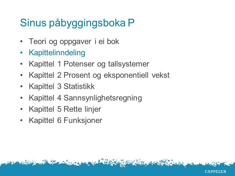 Sinus påbyggingsboka P Teori og oppgaver i ei bok Kapittelinndeling Kapittel 1 Potenser og tallsystemer Kapittel 2 Prosent og eksponentiell vekst Kapittel 3 Statistikk Kapittel 4 Sannsynlighetsregning Kapittel 5 Rette linjer Kapittel 6 Funksjoner
