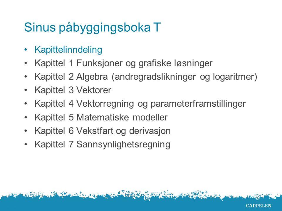 Sinus påbyggingsboka T Kapittelinndeling Kapittel 1 Funksjoner og grafiske løsninger Kapittel 2 Algebra (andregradslikninger og logaritmer) Kapittel 3
