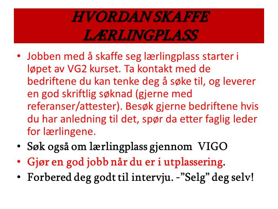 HVORDAN SKAFFE LÆRLINGPLASS Jobben med å skaffe seg lærlingplass starter i løpet av VG2 kurset.