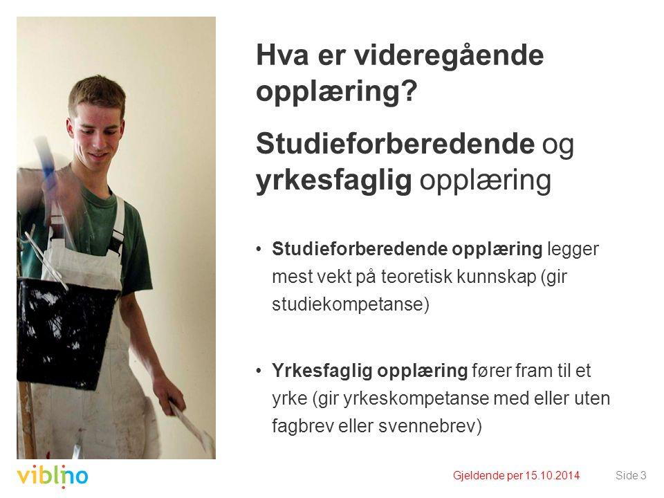 Gjeldende per 15.10.2014Side 14 Hva er videregående opplæring.