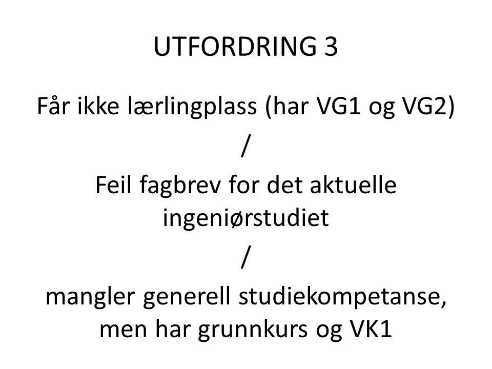 UTFORDRING 3 Får ikke lærlingplass (har VG1 og VG2) / Feil fagbrev for det aktuelle ingeniørstudiet / mangler generell studiekompetanse, men har grunnkurs og VK1