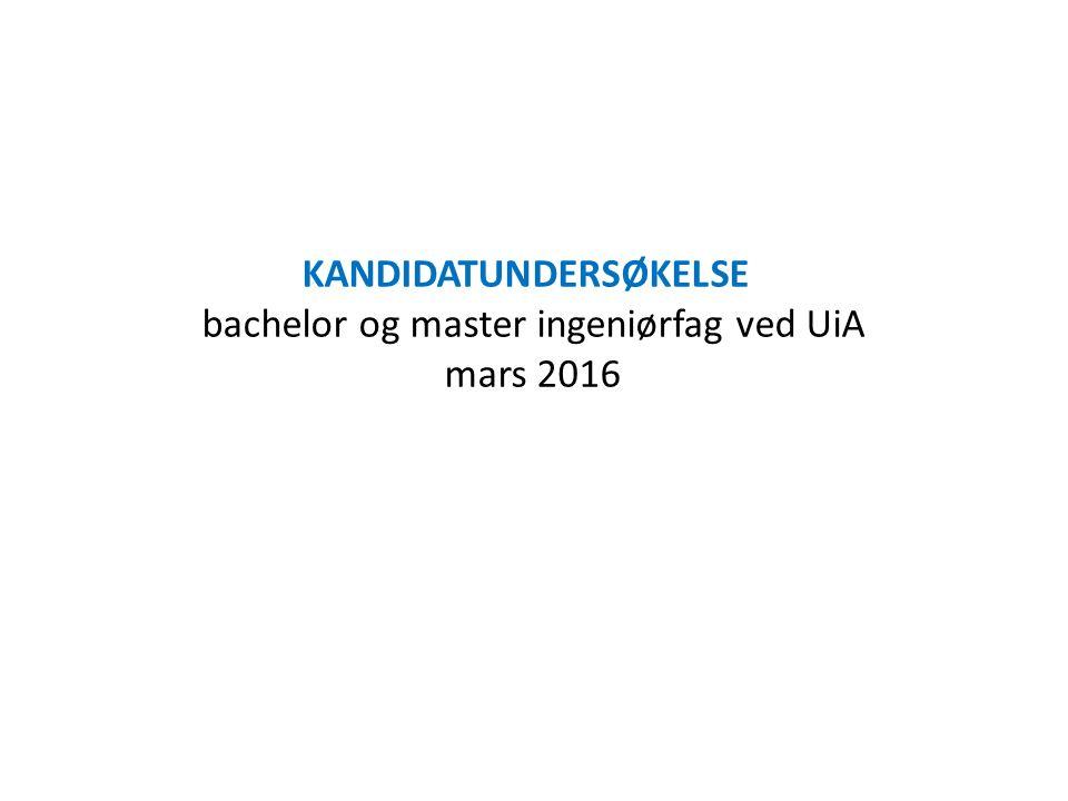 KANDIDATUNDERSØKELSE bachelor og master ingeniørfag ved UiA mars 2016