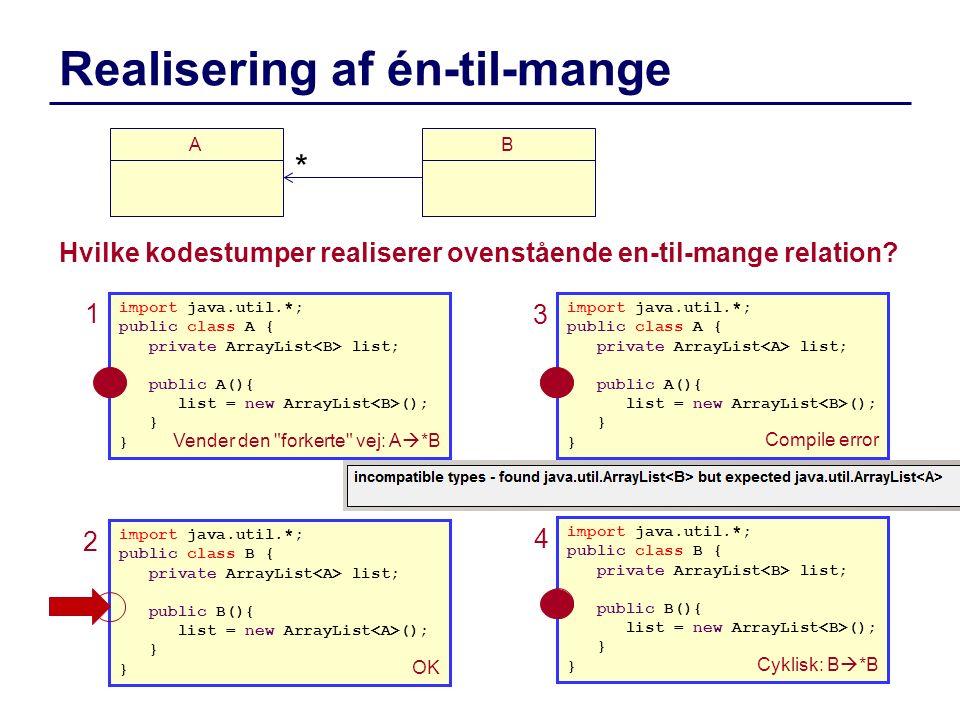 Realisering af én-til-mange Hvilke kodestumper realiserer ovenstående en-til-mange relation? B * import java.util.*; public class A { private ArrayLis