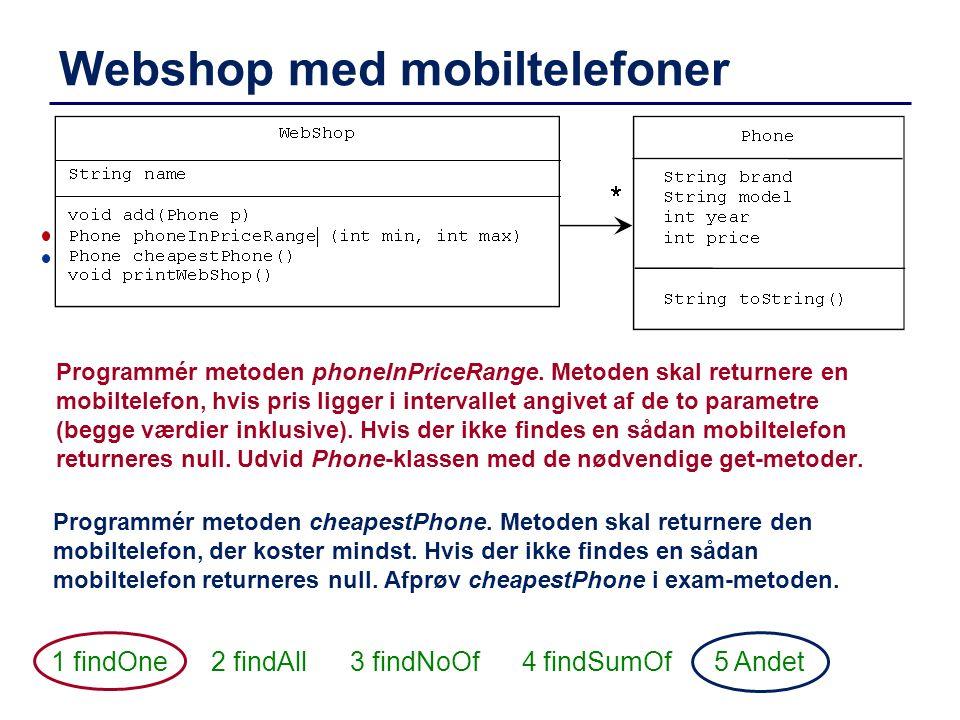 Webshop med mobiltelefoner 1 findOne 2 findAll 3 findNoOf 4 findSumOf 5 Andet Programmér metoden phoneInPriceRange. Metoden skal returnere en mobiltel