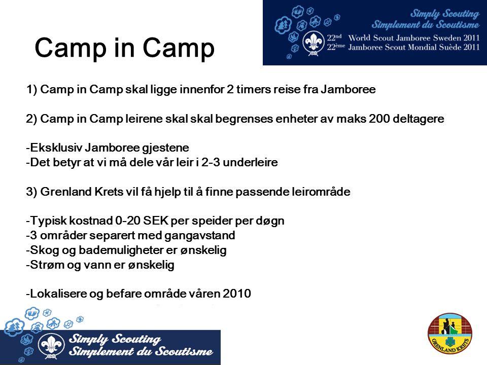 1) Camp in Camp skal ligge innenfor 2 timers reise fra Jamboree 2) Camp in Camp leirene skal skal begrenses enheter av maks 200 deltagere -Eksklusiv Jamboree gjestene -Det betyr at vi må dele vår leir i 2-3 underleire 3) Grenland Krets vil få hjelp til å finne passende leirområde -Typisk kostnad 0-20 SEK per speider per døgn -3 områder separert med gangavstand -Skog og bademuligheter er ønskelig -Strøm og vann er ønskelig -Lokalisere og befare område våren 2010 Camp in Camp