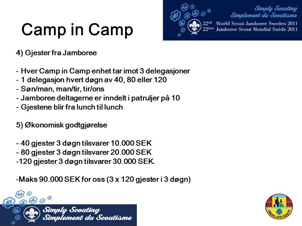 4) Gjester fra Jamboree - Hver Camp in Camp enhet tar imot 3 delegasjoner - 1 delegasjon hvert døgn av 40, 80 eller 120 - Søn/man, man/tir, tir/ons - Jamboree deltagerne er inndelt i patruljer på 10 - Gjestene blir fra lunch til lunch 5) Økonomisk godtgjørelse - 40 gjester 3 døgn tilsvarer 10.000 SEK - 80 gjester 3 døgn tilsvarer 20.000 SEK -120 gjester 3 døgn tilsvarer 30.000 SEK.