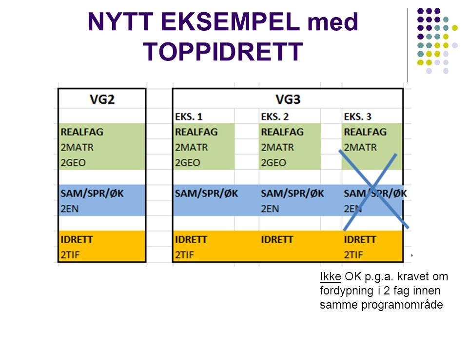 NYTT EKSEMPEL med TOPPIDRETT Ikke OK p.g.a. kravet om fordypning i 2 fag innen samme programområde