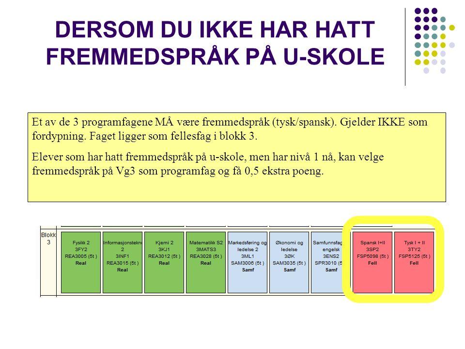 DERSOM DU IKKE HAR HATT FREMMEDSPRÅK PÅ U-SKOLE Et av de 3 programfagene MÅ være fremmedspråk (tysk/spansk).
