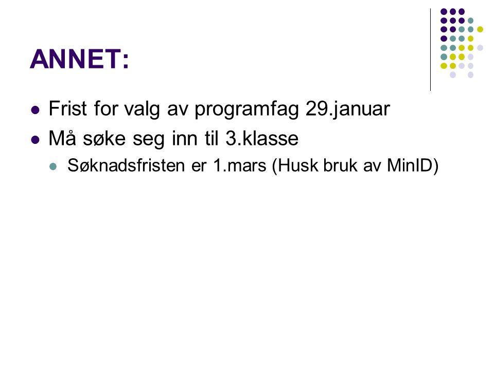 ANNET: Frist for valg av programfag 29.januar Må søke seg inn til 3.klasse Søknadsfristen er 1.mars (Husk bruk av MinID)