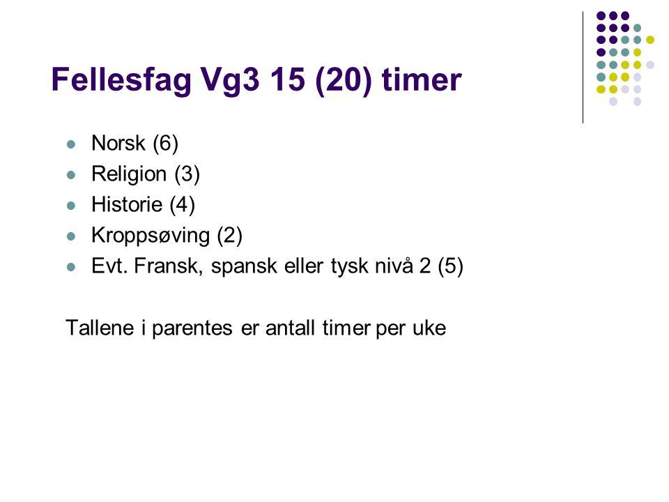 Fellesfag Vg3 15 (20) timer Norsk (6) Religion (3) Historie (4) Kroppsøving (2) Evt.