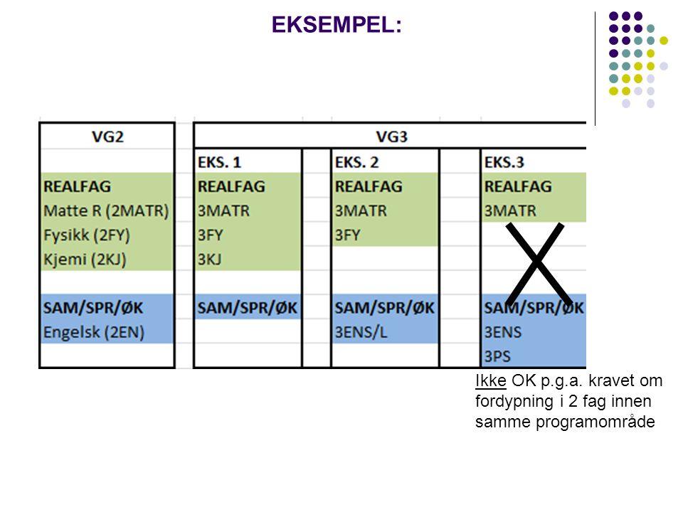 NYTT EKSEMPEL Ikke OK p.g.a. kravet om fordypning i 2 fag innen samme programområde