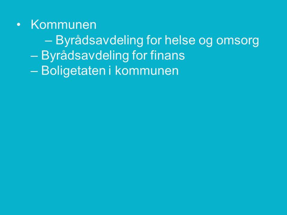 Kommunen – Byrådsavdeling for helse og omsorg – Byrådsavdeling for finans – Boligetaten i kommunen