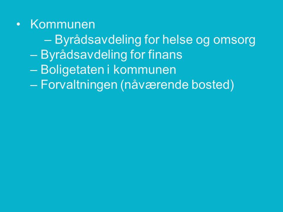 Kommunen – Byrådsavdeling for helse og omsorg – Byrådsavdeling for finans – Boligetaten i kommunen – Forvaltningen (nåværende bosted)