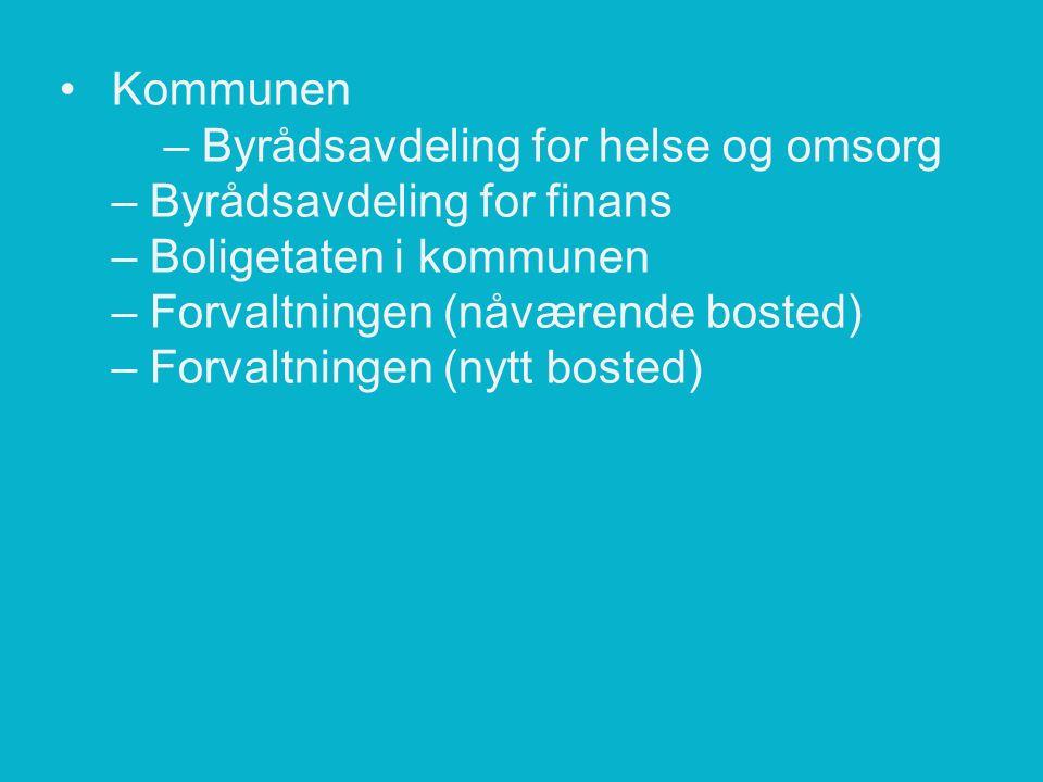 Kommunen – Byrådsavdeling for helse og omsorg – Byrådsavdeling for finans – Boligetaten i kommunen – Forvaltningen (nåværende bosted) – Forvaltningen (nytt bosted)