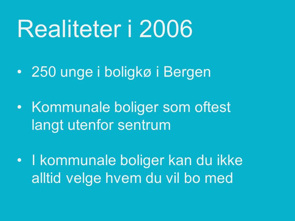Realiteter i 2006250 unge i boligkø i BergenKommunale boliger som oftest langt utenfor sentrumI kommunale boliger kan du ikke alltid velge hvem du vil bo med
