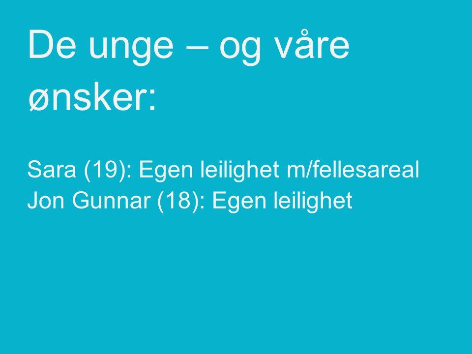 De unge – og våre ønsker: Sara (19): Egen leilighet m/fellesareal Jon Gunnar (18): Egen leilighet Vegard (19): Egen leilighet m/felles.