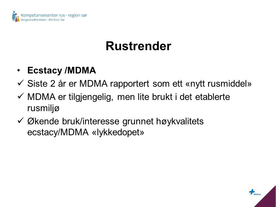 Rustrender Ecstacy /MDMA Siste 2 år er MDMA rapportert som ett «nytt rusmiddel» MDMA er tilgjengelig, men lite brukt i det etablerte rusmiljø Økende bruk/interesse grunnet høykvalitets ecstacy/MDMA «lykkedopet»