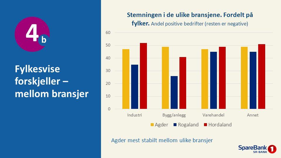 Fylkesvise forskjeller – mellom bransjer 4 b Agder mest stabilt mellom ulike bransjer