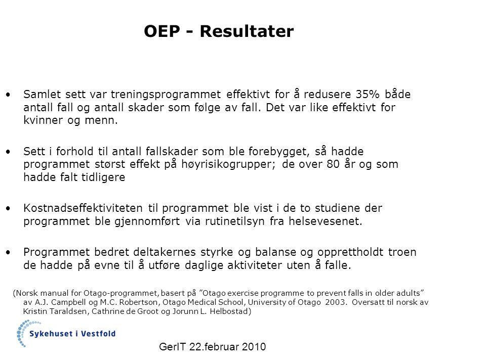 GerIT 22.februar 2010 OEP - Resultater Samlet sett var treningsprogrammet effektivt for å redusere 35% både antall fall og antall skader som følge av fall.