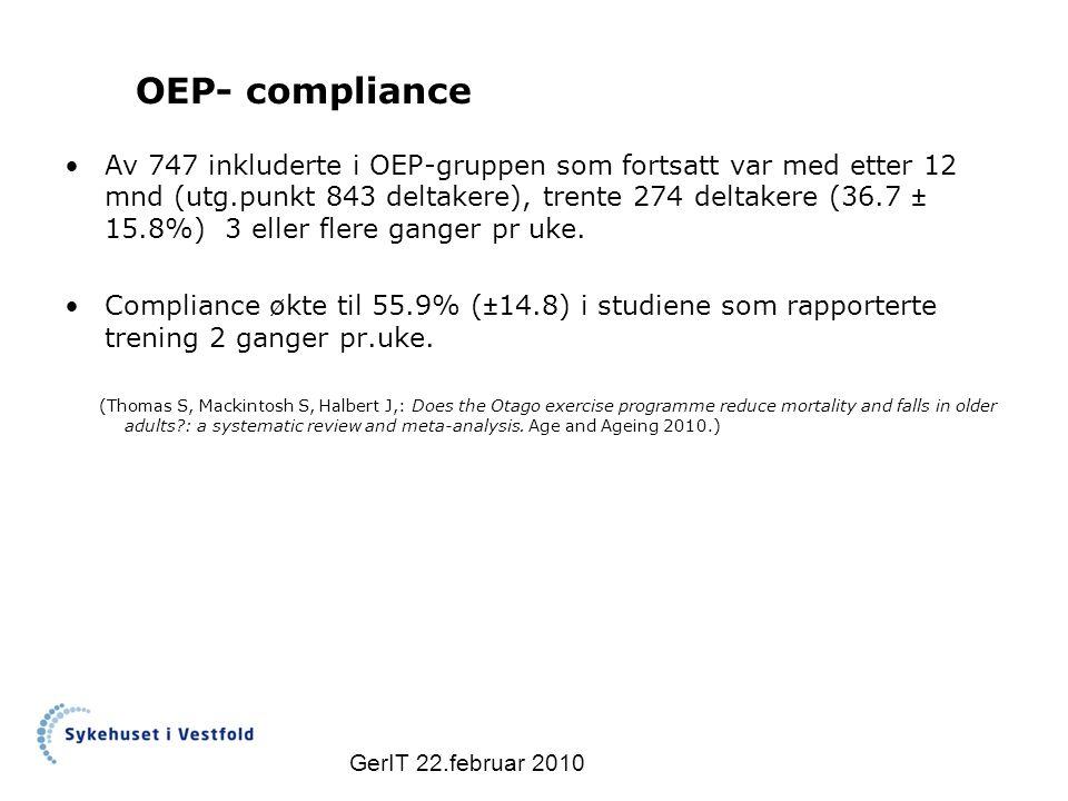 OEP- compliance Av 747 inkluderte i OEP-gruppen som fortsatt var med etter 12 mnd (utg.punkt 843 deltakere), trente 274 deltakere (36.7 ± 15.8%) 3 eller flere ganger pr uke.