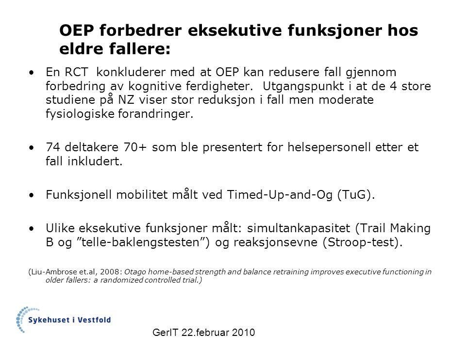 OEP forbedrer eksekutive funksjoner hos eldre fallere: En RCT konkluderer med at OEP kan redusere fall gjennom forbedring av kognitive ferdigheter.
