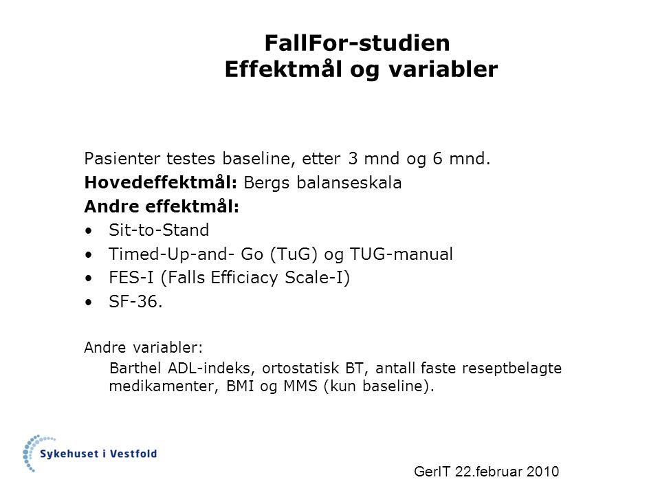 FallFor-studien Effektmål og variabler Pasienter testes baseline, etter 3 mnd og 6 mnd.