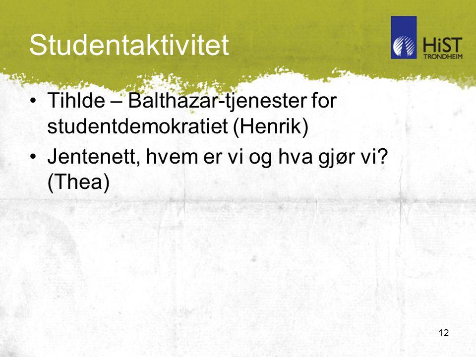 12 Studentaktivitet Tihlde – Balthazar-tjenester for studentdemokratiet (Henrik) Jentenett, hvem er vi og hva gjør vi.