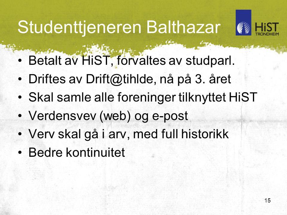 15 Studenttjeneren Balthazar Betalt av HiST, forvaltes av studparl.