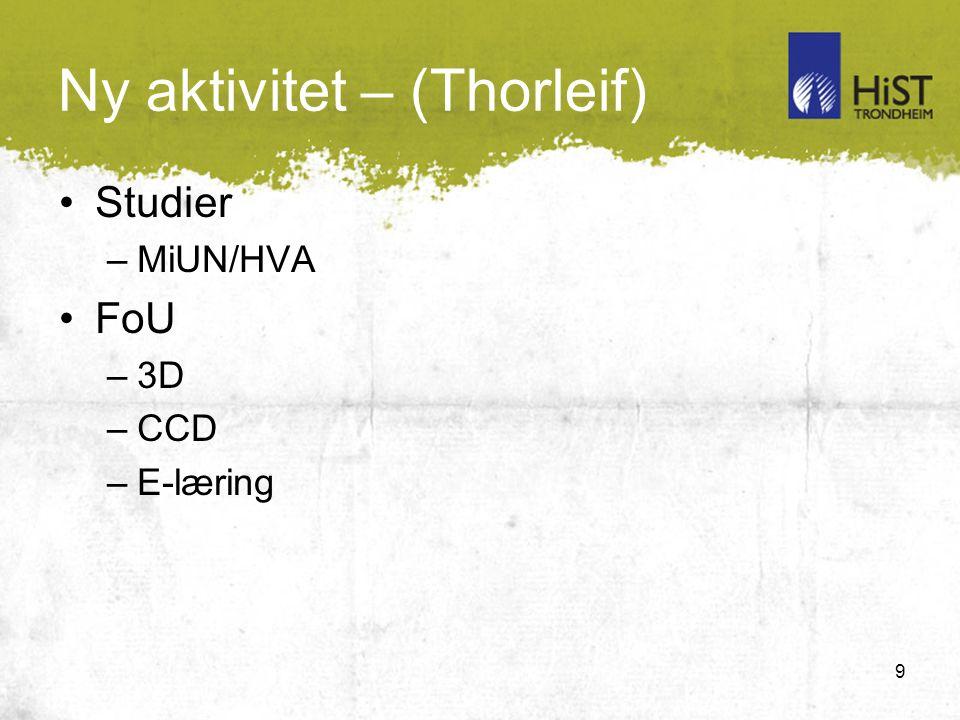 9 Ny aktivitet – (Thorleif) Studier –MiUN/HVA FoU –3D –CCD –E-læring