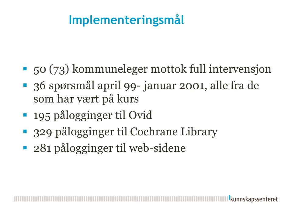 Implementeringsmål  50 (73) kommuneleger mottok full intervensjon  36 spørsmål april 99- januar 2001, alle fra de som har vært på kurs  195 pålogginger til Ovid  329 pålogginger til Cochrane Library  281 pålogginger til web-sidene