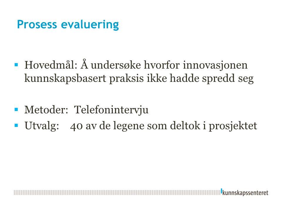 Prosess evaluering  Hovedmål: Å undersøke hvorfor innovasjonen kunnskapsbasert praksis ikke hadde spredd seg  Metoder: Telefonintervju  Utvalg: 40 av de legene som deltok i prosjektet