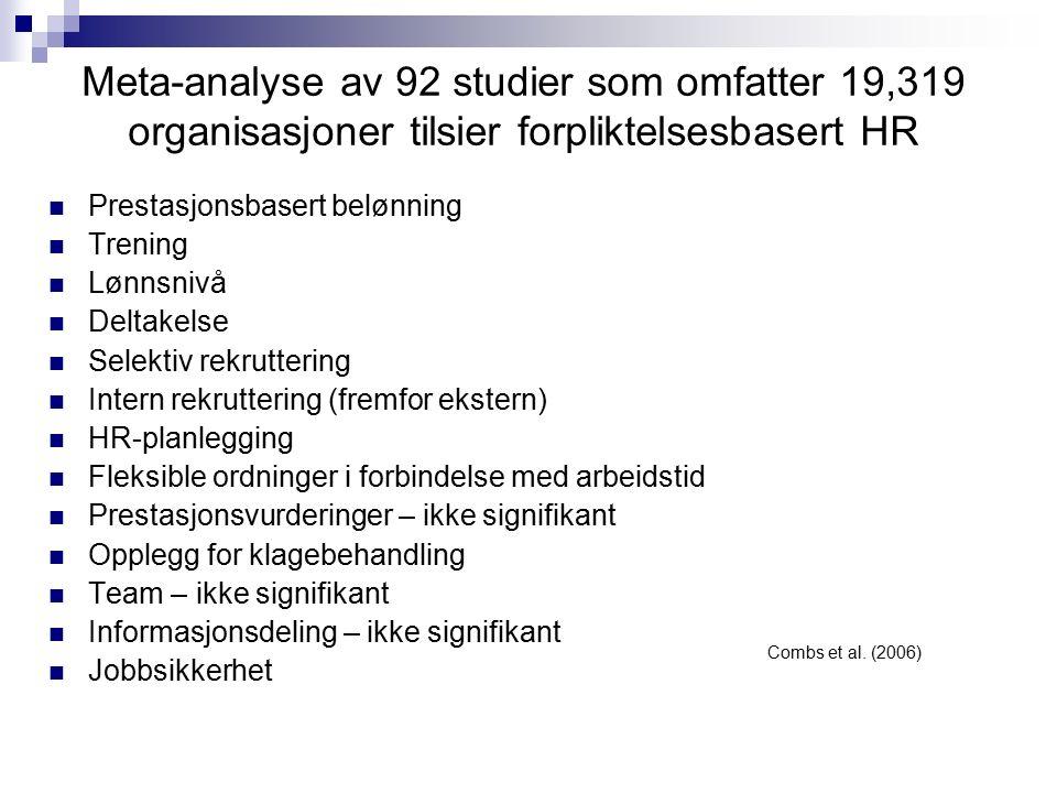 Meta-analyse av 92 studier som omfatter 19,319 organisasjoner tilsier forpliktelsesbasert HR Prestasjonsbasert belønning Trening Lønnsnivå Deltakelse