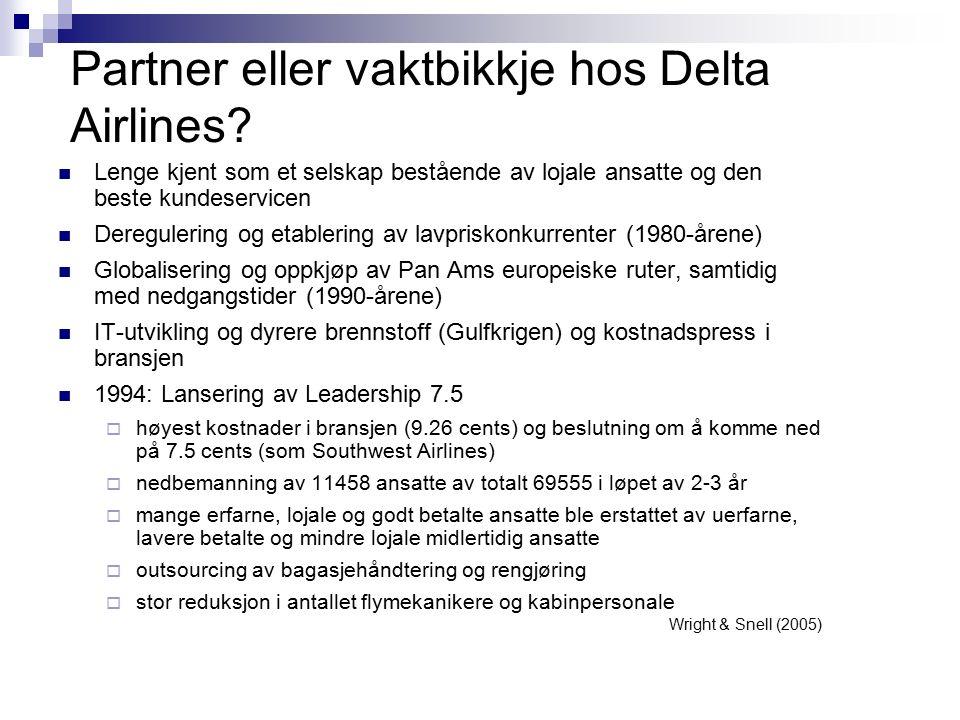 Partner eller vaktbikkje hos Delta Airlines? Lenge kjent som et selskap bestående av lojale ansatte og den beste kundeservicen Deregulering og etabler