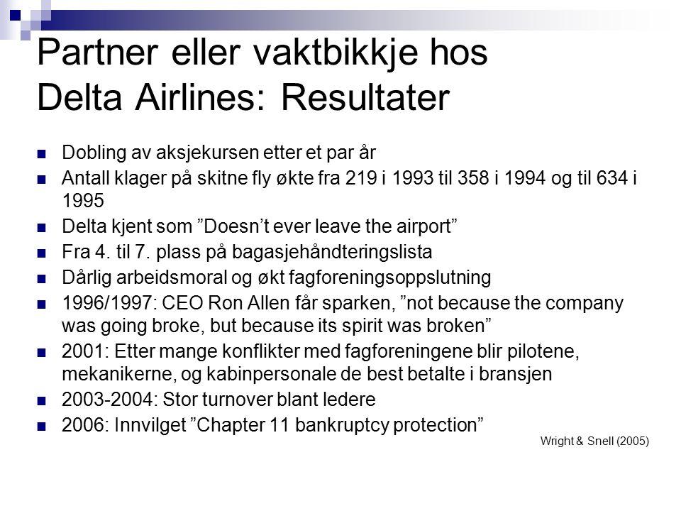 Partner eller vaktbikkje hos Delta Airlines: Resultater Dobling av aksjekursen etter et par år Antall klager på skitne fly økte fra 219 i 1993 til 358 i 1994 og til 634 i 1995 Delta kjent som Doesn't ever leave the airport Fra 4.