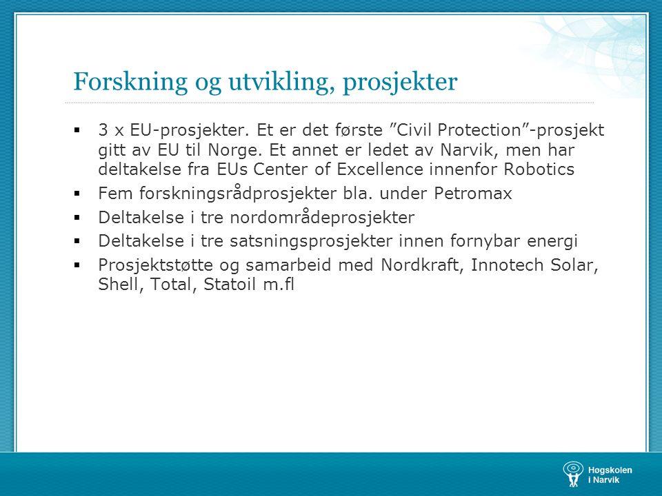 Forskning og utvikling, prosjekter  3 x EU-prosjekter.