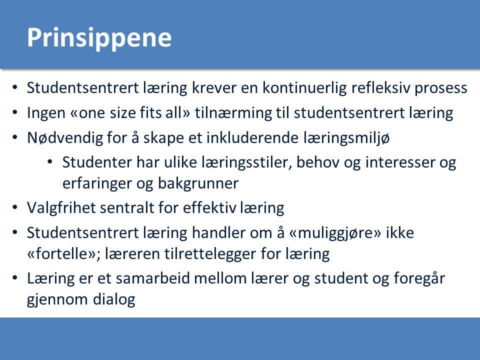 Prinsippene Studentsentrert læring krever en kontinuerlig refleksiv prosess Ingen «one size fits all» tilnærming til studentsentrert læring Nødvendig for å skape et inkluderende læringsmiljø Studenter har ulike læringsstiler, behov og interesser og erfaringer og bakgrunner Valgfrihet sentralt for effektiv læring Studentsentrert læring handler om å «muliggjøre» ikke «fortelle»; læreren tilrettelegger for læring Læring er et samarbeid mellom lærer og student og foregår gjennom dialog
