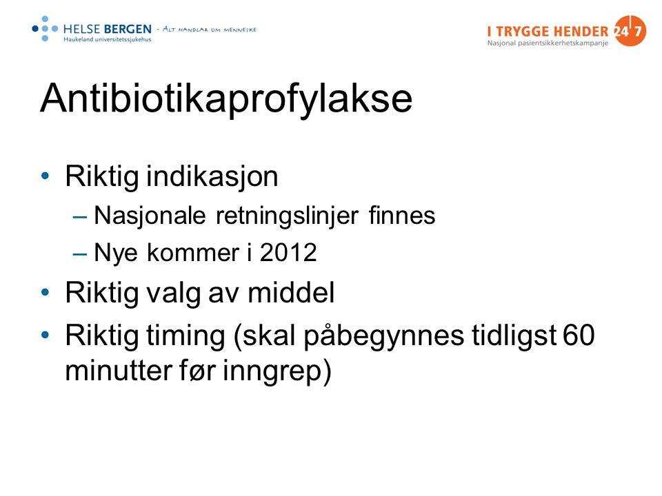 Antibiotikaprofylakse Riktig indikasjon –Nasjonale retningslinjer finnes –Nye kommer i 2012 Riktig valg av middel Riktig timing (skal påbegynnes tidligst 60 minutter før inngrep)
