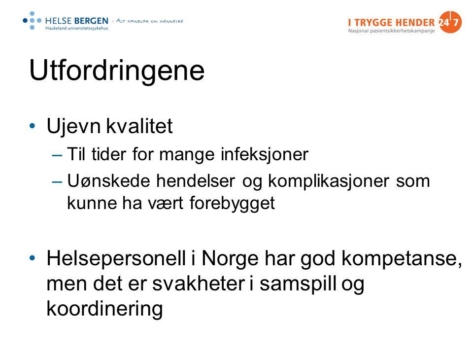 Utfordringene Ujevn kvalitet –Til tider for mange infeksjoner –Uønskede hendelser og komplikasjoner som kunne ha vært forebygget Helsepersonell i Norge har god kompetanse, men det er svakheter i samspill og koordinering